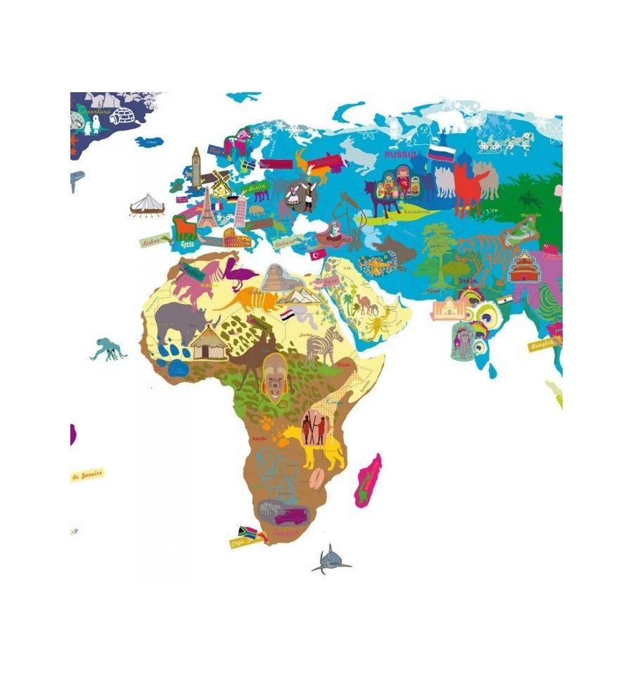 Il Mappamondo Non è Un Semplice Adesivo Murale Le Dimensioni Del - World map with countries and capitals name
