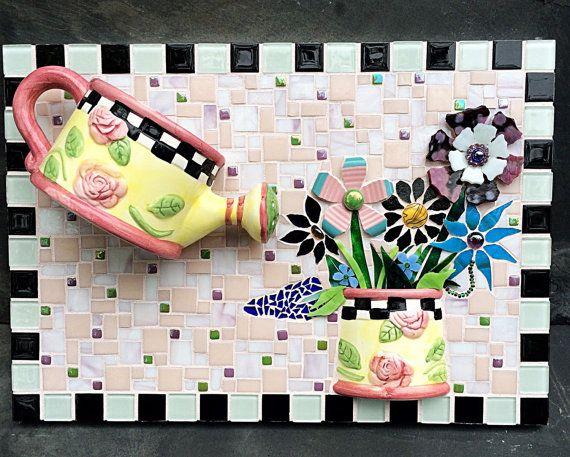 mosaic art shabby chic wall art flower bouquet ceramic vase