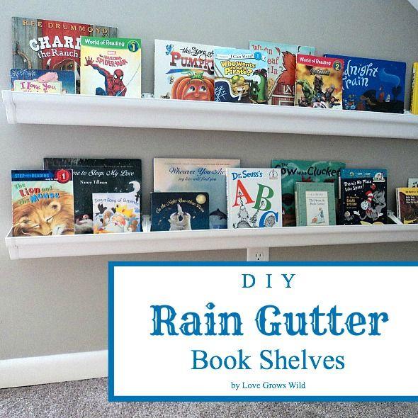 DIY Rain Gutter Book Shelves By Love Grows Wild