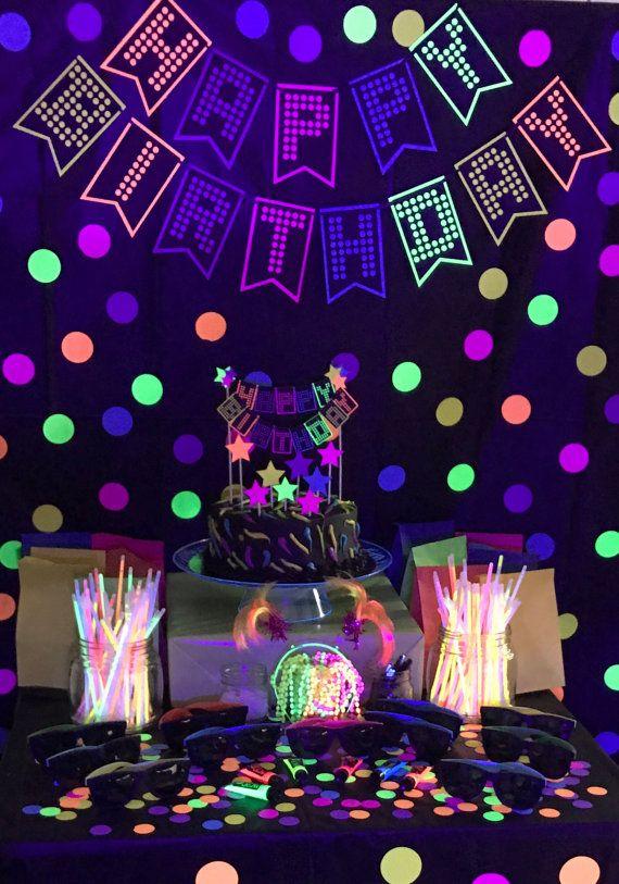 años 80 cake topper resplandor partido bandera fiesta glow  8faa96d0be5