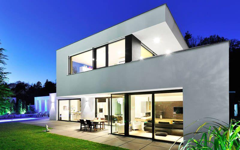 1110 Einfamilienhaus, Neubau apunkt architekten Living - geometrische formen farben modernes haus