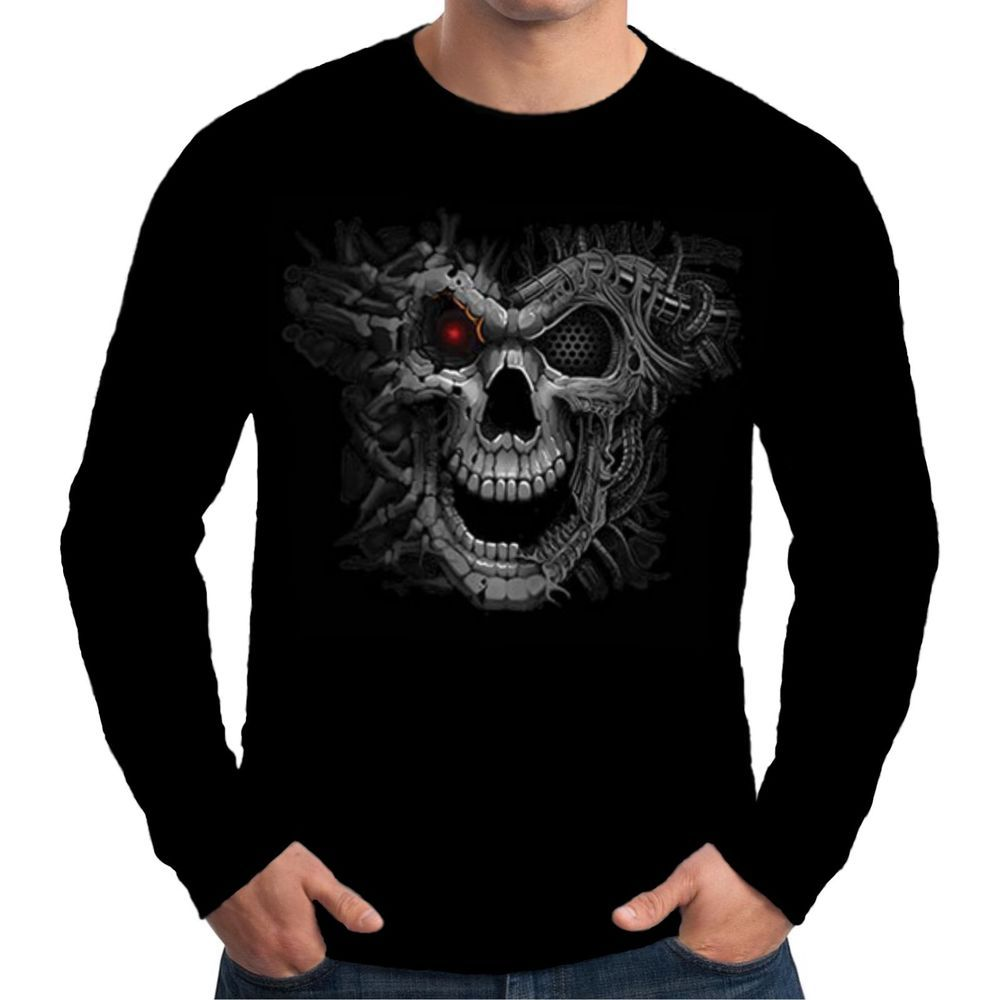 Velocitee Mens Long Sleeve T Shirt Cyborg Skull Biker Horror Robot Skull A21019 #Velocitee