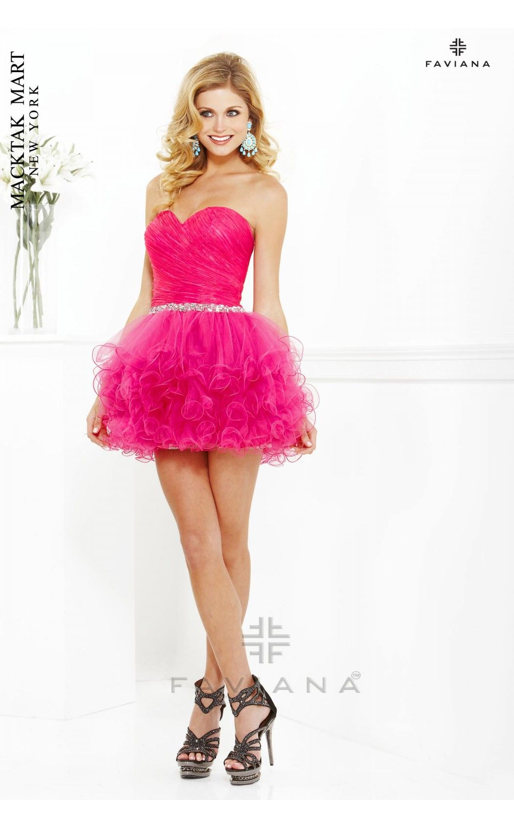 Faviana Glamour 7191 hot pink short dress #strapless #prom #sweet 16 ...