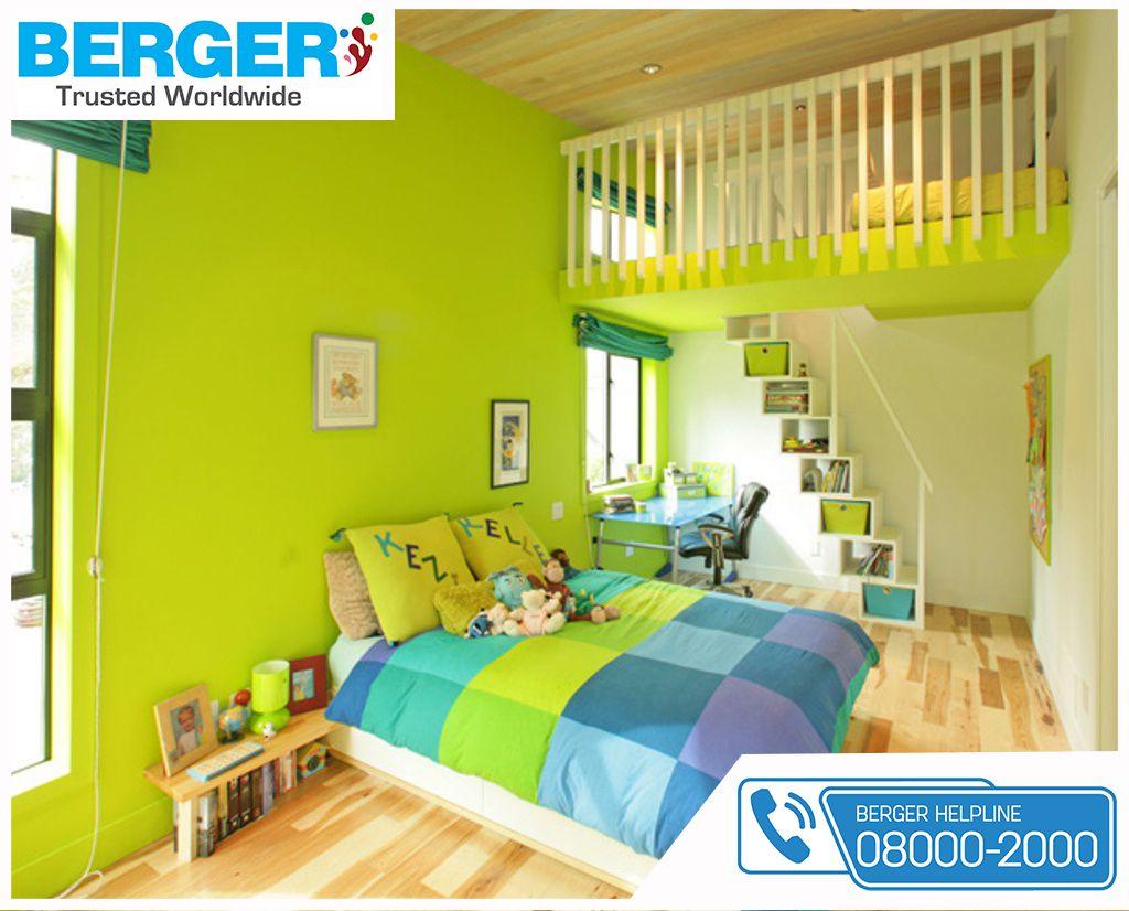 Beautiful Green Paint For Kids Bed Room ~ Berger Paints #paints #paint  #color