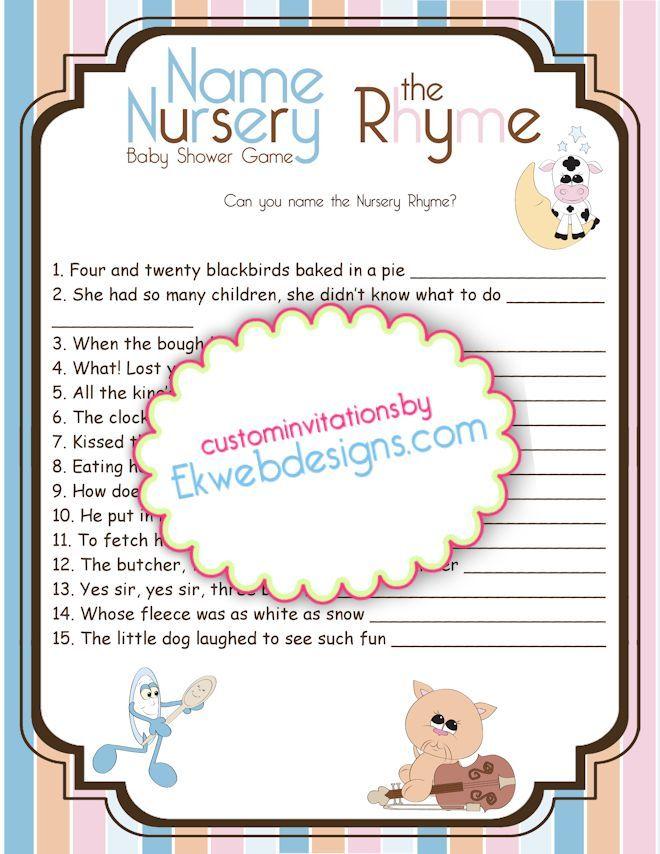 Baby Shower Game - Name the Nursery Rhyme - Printable DIY