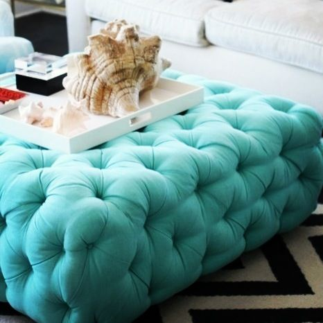 Still Obsessing Over This Turquoise Tufted Ottoman