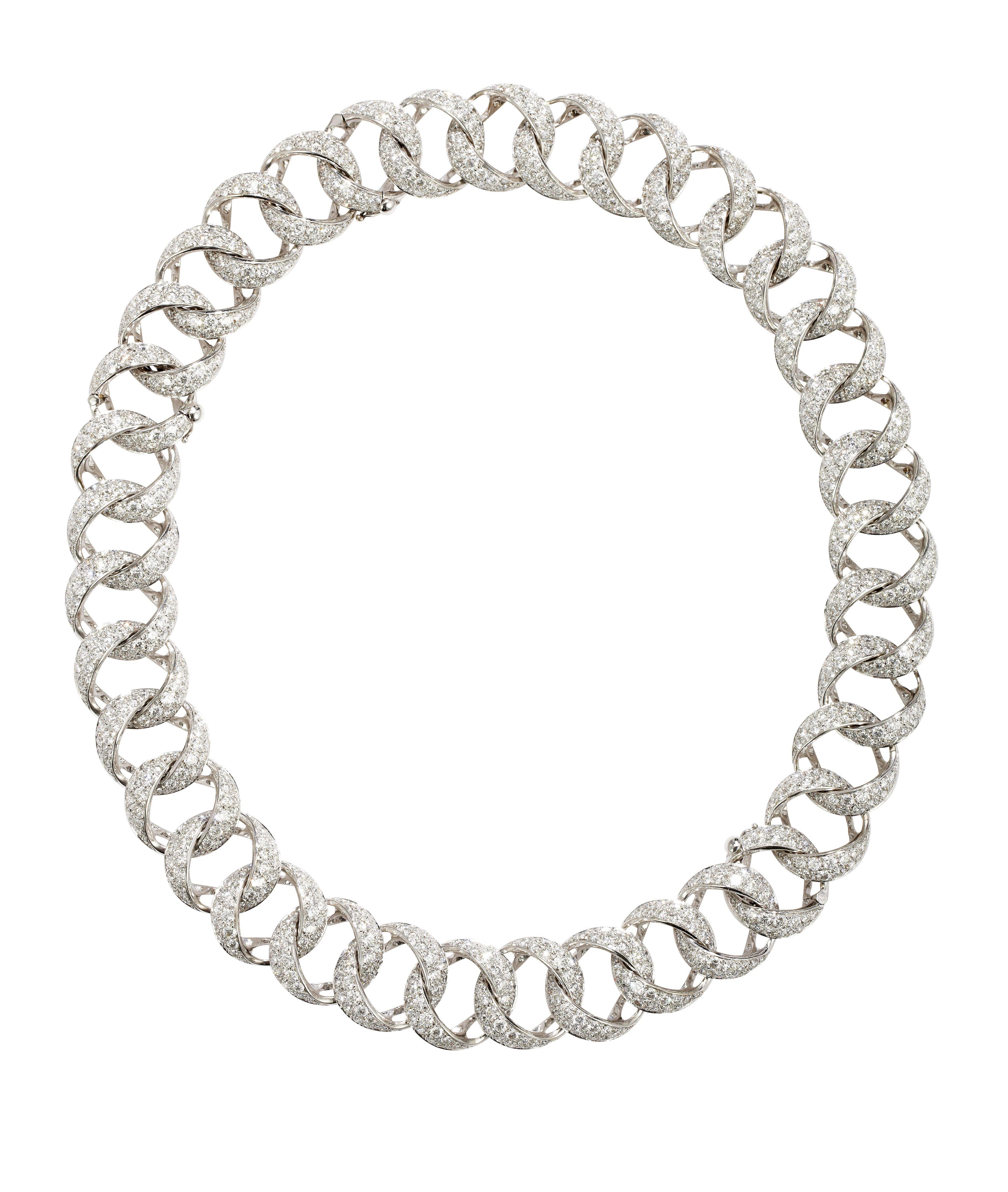 Villa this sumptuous pave set diamond curb link necklace is