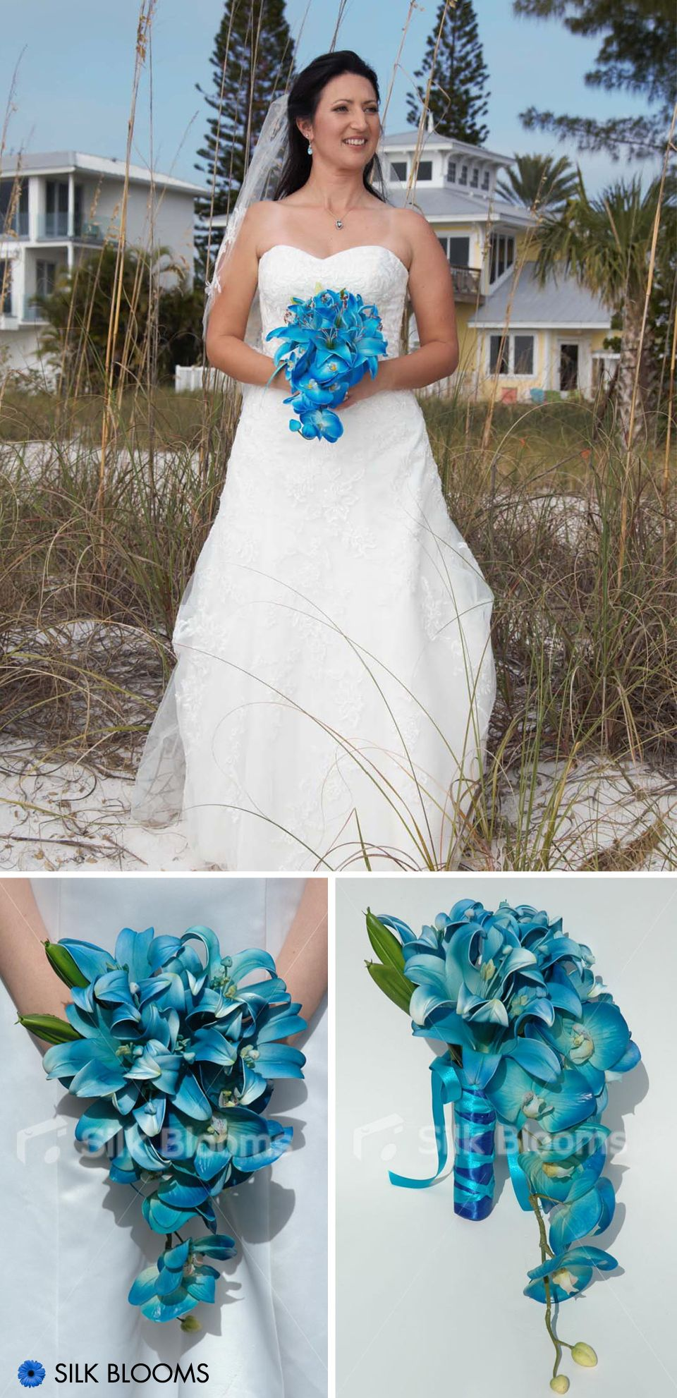 Jade Galaxy Blue Orchid Stargazer Lily Small Bridal Bouquet | Small ...
