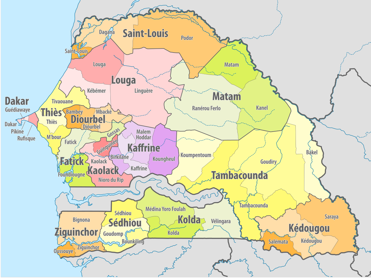 Map of the departments and regions of Senegal MAPS Pinterest