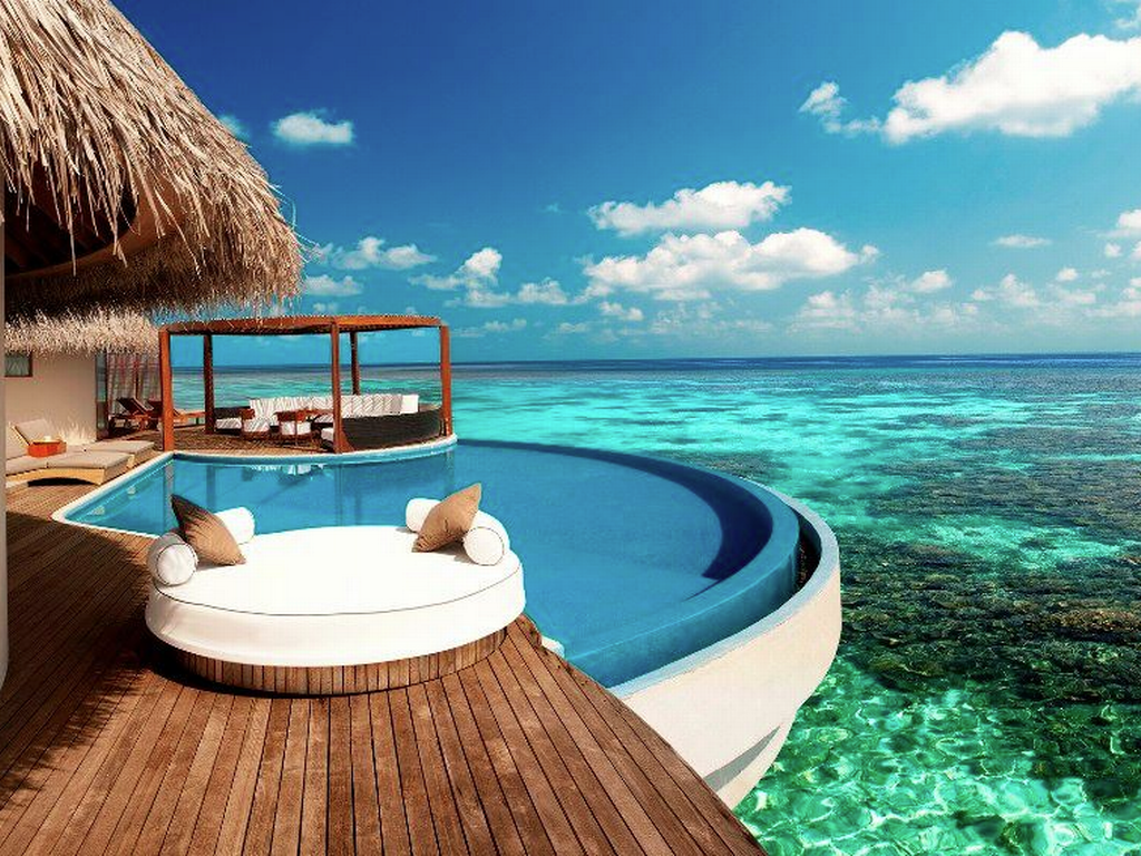 the water villas w resort have their own pool over the great