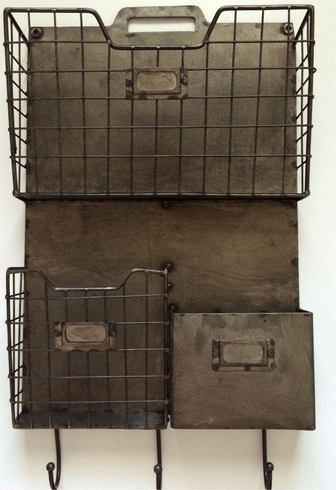 Vintage Style Metal Triple Wall Pocket Organizer File Holder W