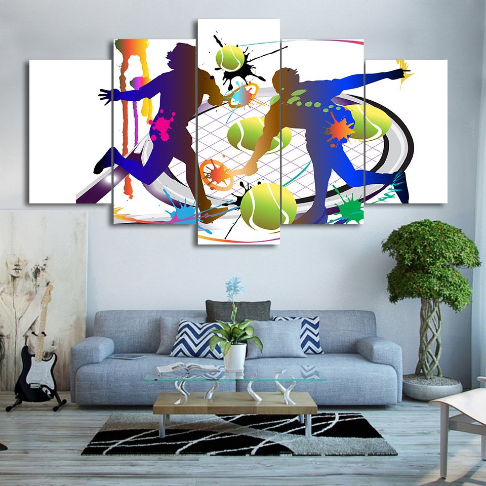 Tennis Abstract Sport Canvas Wall Art In 2020 5 Piece Canvas Art Canvas Wall Art Wall Prints