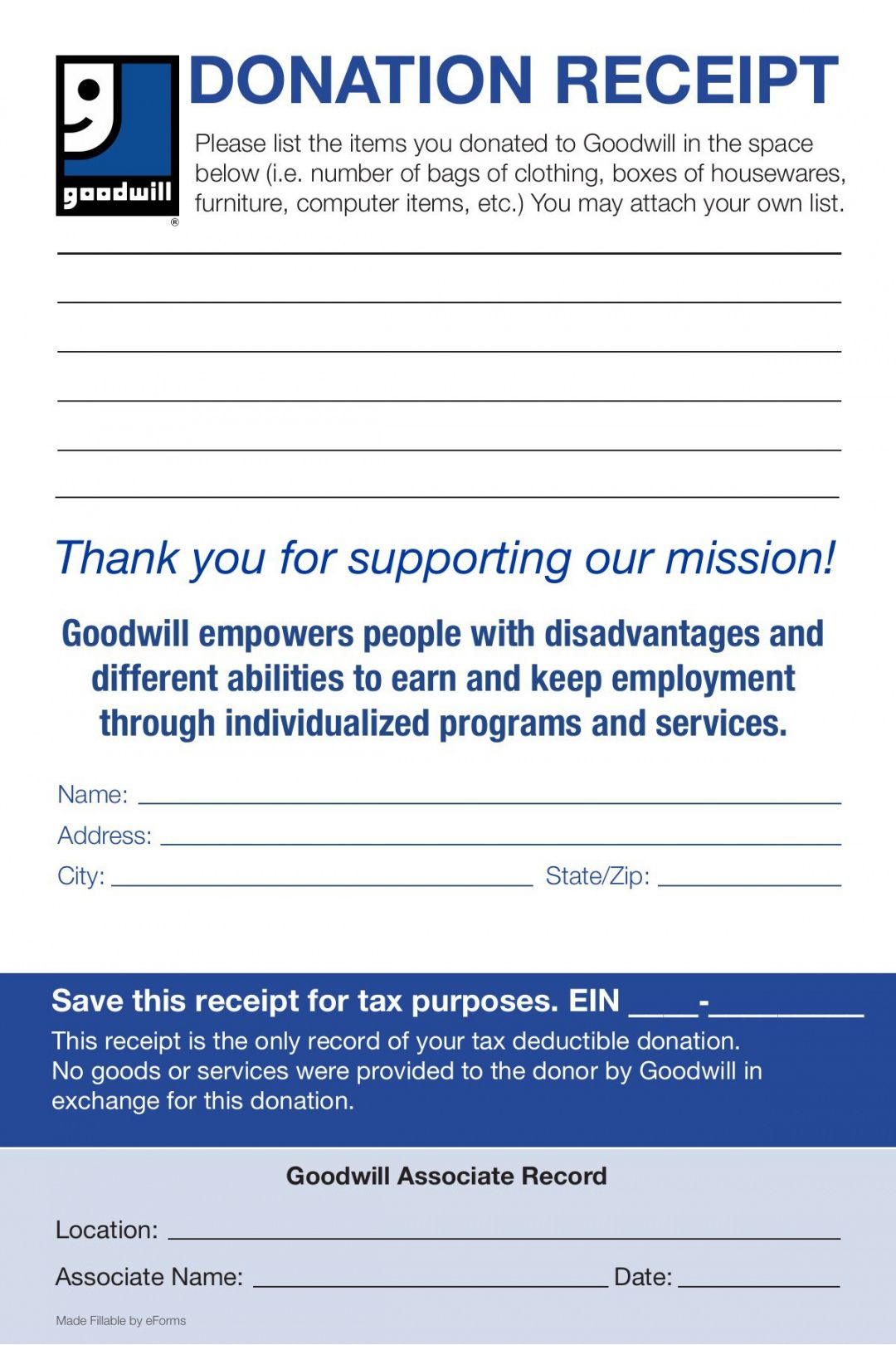 Explore Our Free Furniture Donation Receipt Template Receipt Template Donation Form Goodwill Donations
