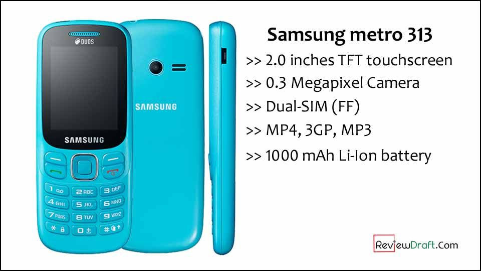 Samsung metro 313 Price in Bangladesh, Full Specification