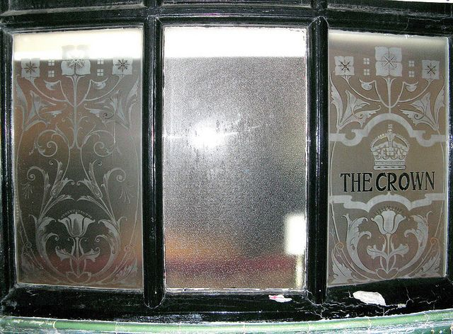 Etched Glass Pub Window Steampunk Love Glass Etching