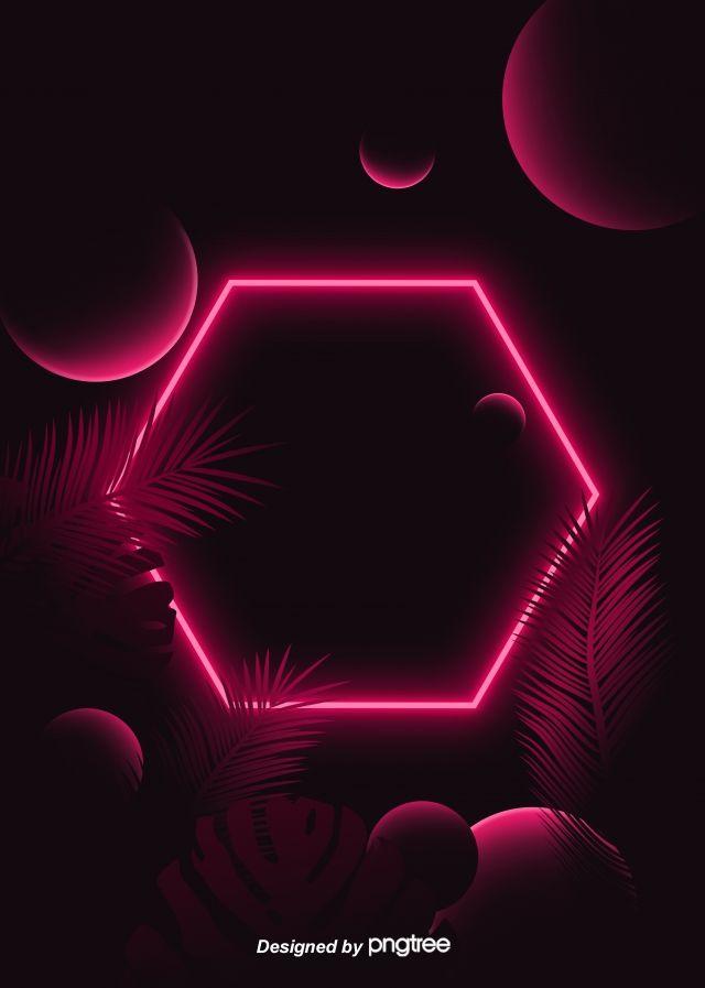 Geometric Shape Tropical Leaf Theme Red Neon Lighting Effect Background Neon Light Wallpaper Neon Wallpaper Neon