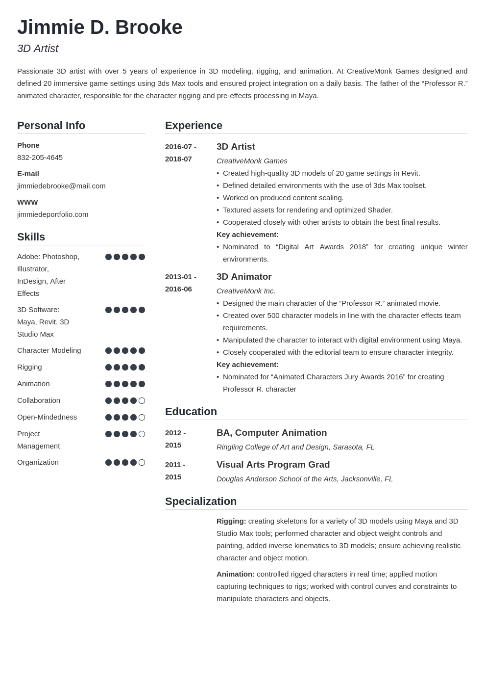 3d Artist Resume Example Template Simple Artist Resume Resume Examples Job Resume Examples