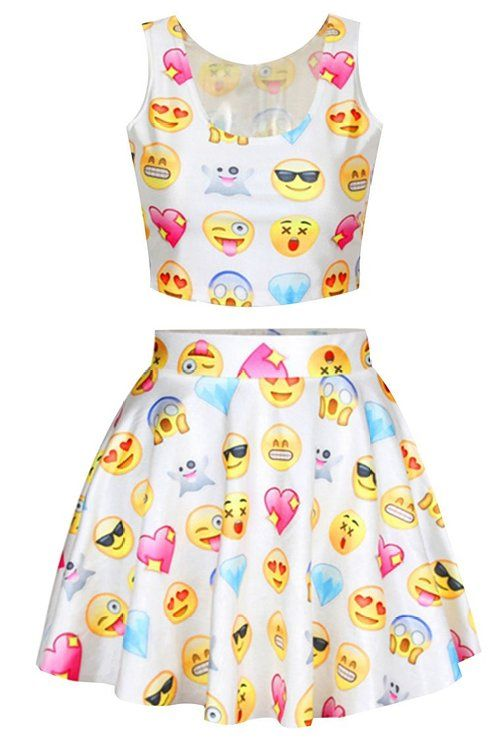 8599943147b26 Womens Cartoon Pattern Emoji Print Crop Tank Top Skater Skirt 2 Pieces Set  Dress