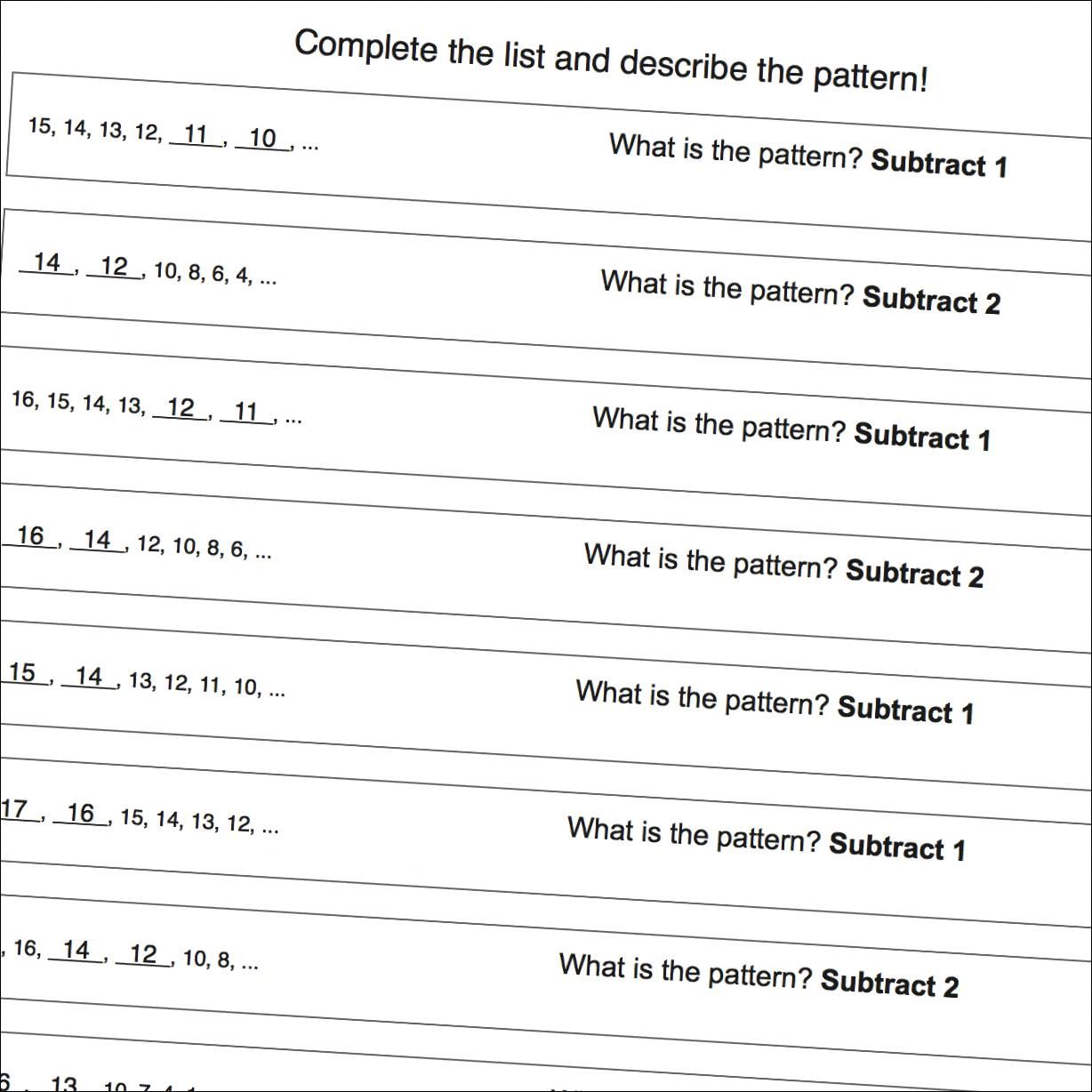 Math Worksheets Number Pattern Worksheets With Negatives