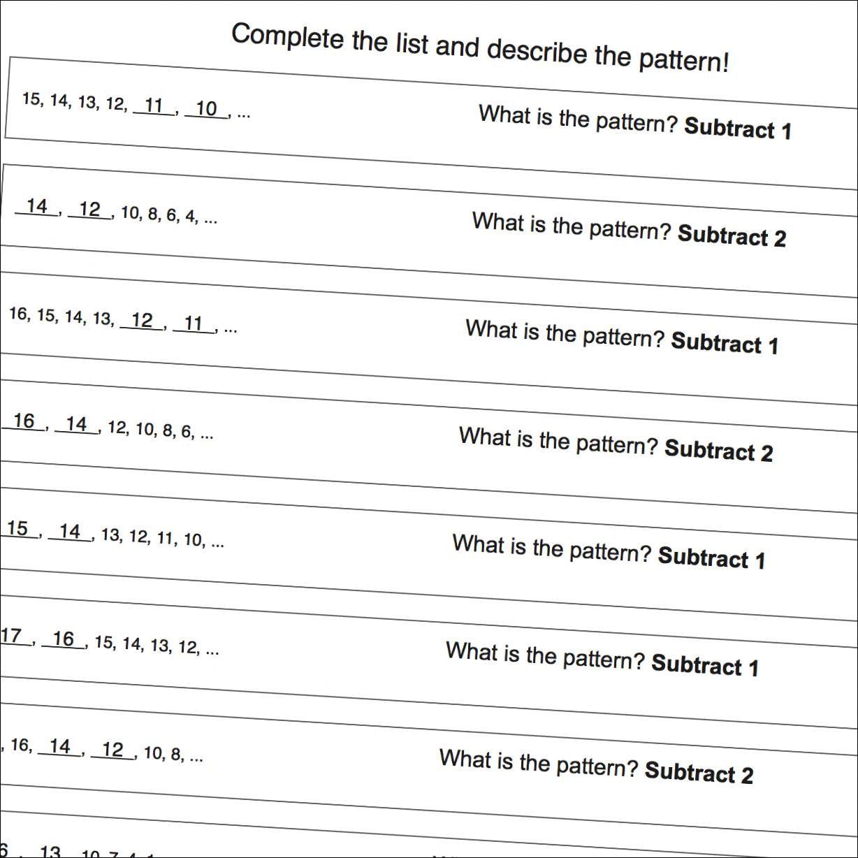 Math Worksheets Number Pattern Worksheets With Negatives