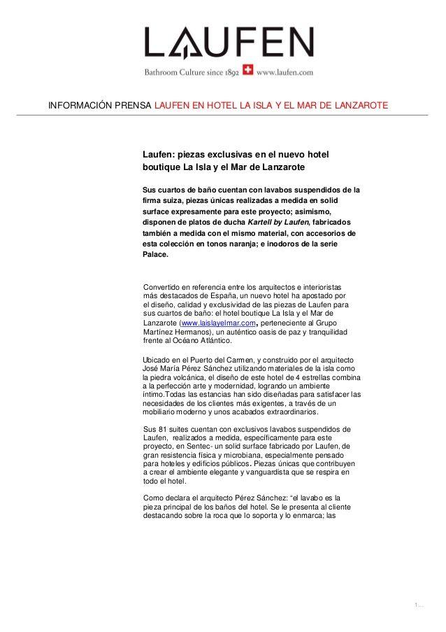 8a97e44bdca6 Nota de prensa de QMS Comunicación sobre las piezas exclusivas de Laufen en  el nuevo hotel boutique La Isla y el Mar de Lanzarote