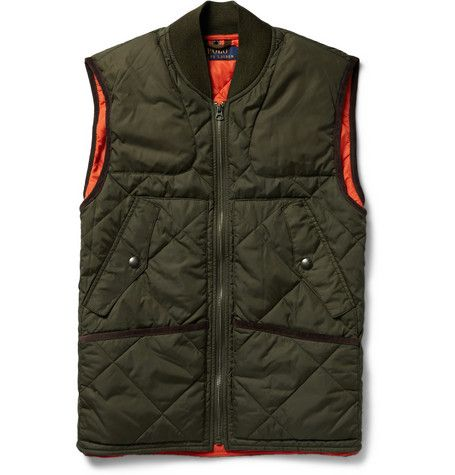 Polo Ralph Lauren Leather-Trimmed Waxed Cotton-Canvas Jacket with Quilted Shell Gilet