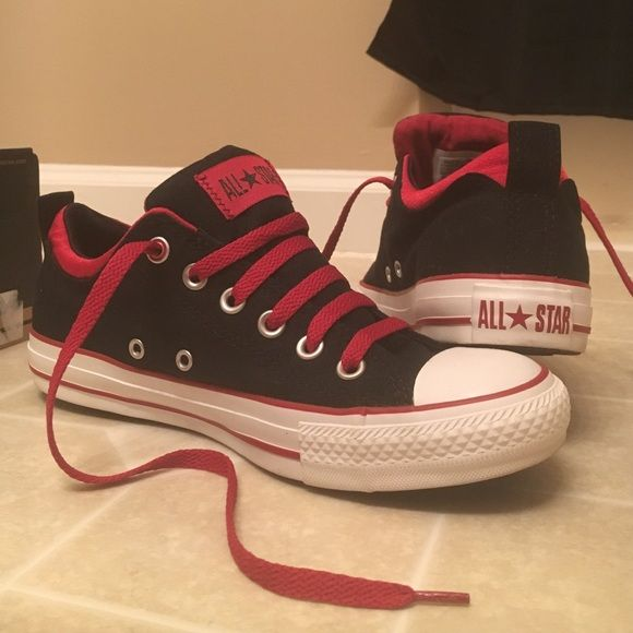 Black/Red Converse Women's Size 8 , Black and Red All Star Converse. Dual collar black/jester. They are a darker red , not a bright red . The tongue is thick/puffy instead of flat like the normal converse. Shoe laces are red. New with Box ! Tried on , never worn .  I did re-lace them. Converse Shoes Sneakers