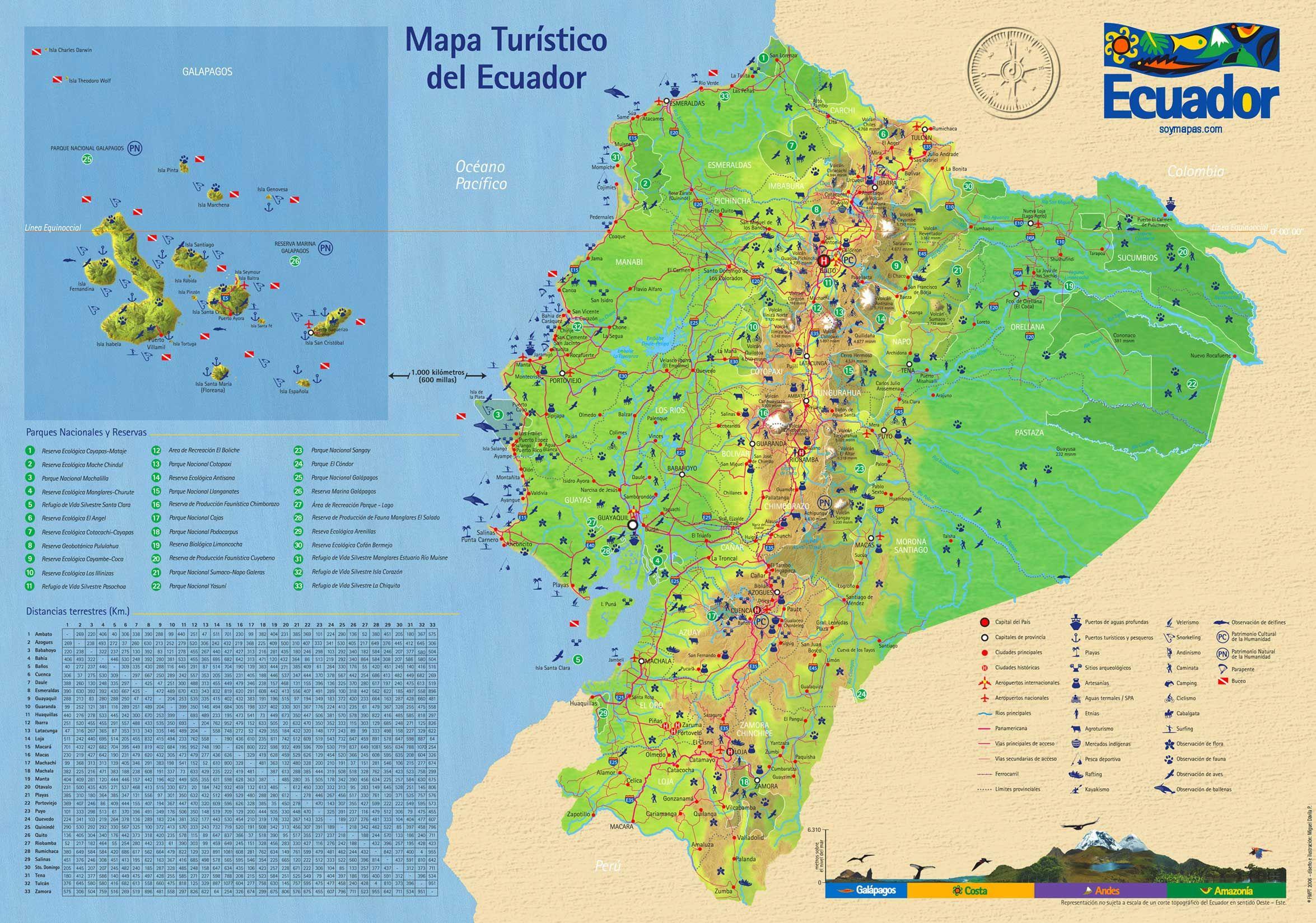 Mapa Turistico Ecuador Jpg 2350 1649 Tourist Map Ecuador Map Map