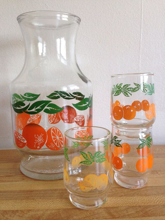 Vintage 60's 70's Juice Carafe and Mini Juice Glasses on Etsy, $10.00