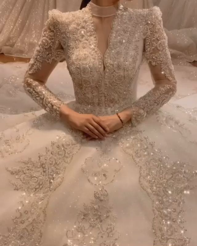 Luxus Wedding Dresses Long Sleeve Kristal Wedding Gowns Ball Gown