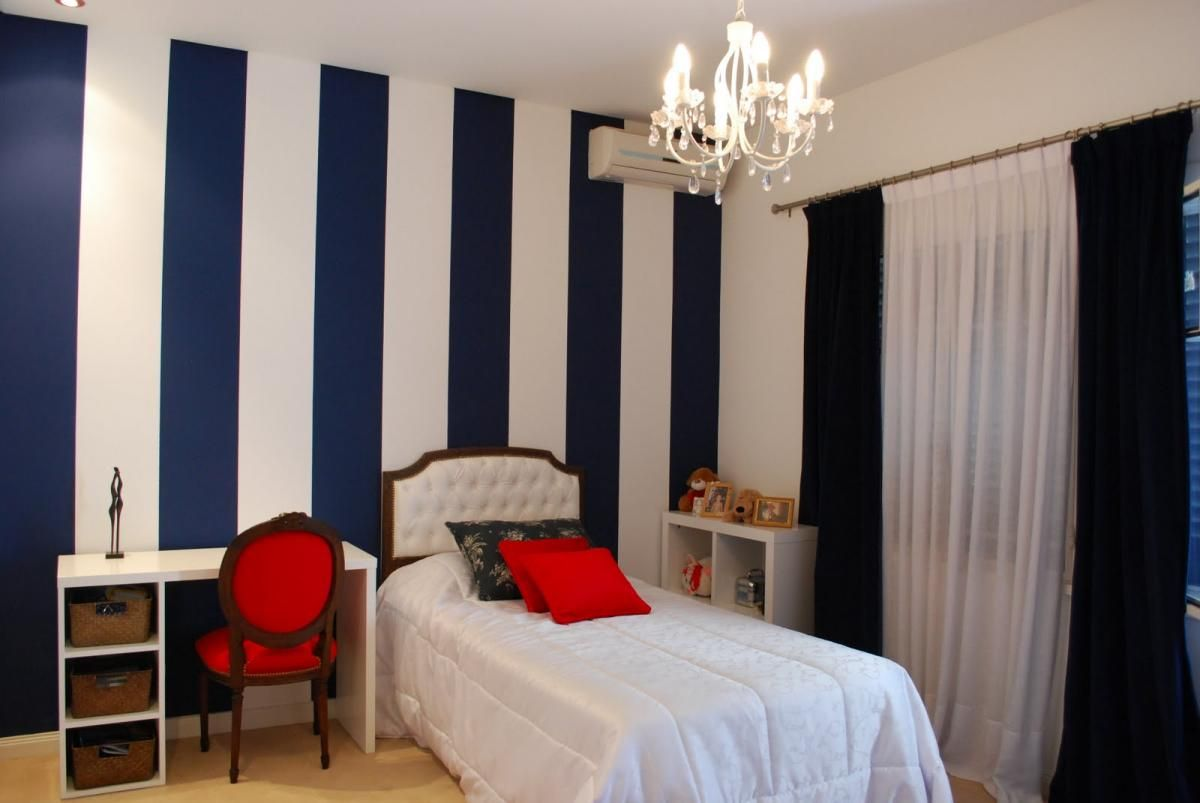 Wall Painting Designs For Bedroom Unique This Bluewhite Vertical Stripe Look Is Mirrored In The Curtains Decorating Inspiration