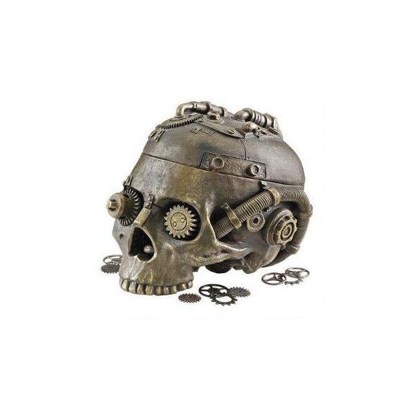 Steampunk Skull Containment Vessel - CL6067 - Design Toscano (145 BRL) ❤ liked on Polyvore featuring home, home decor, animal statues, skull statue, dragon home decor, angel statue and skull home decor