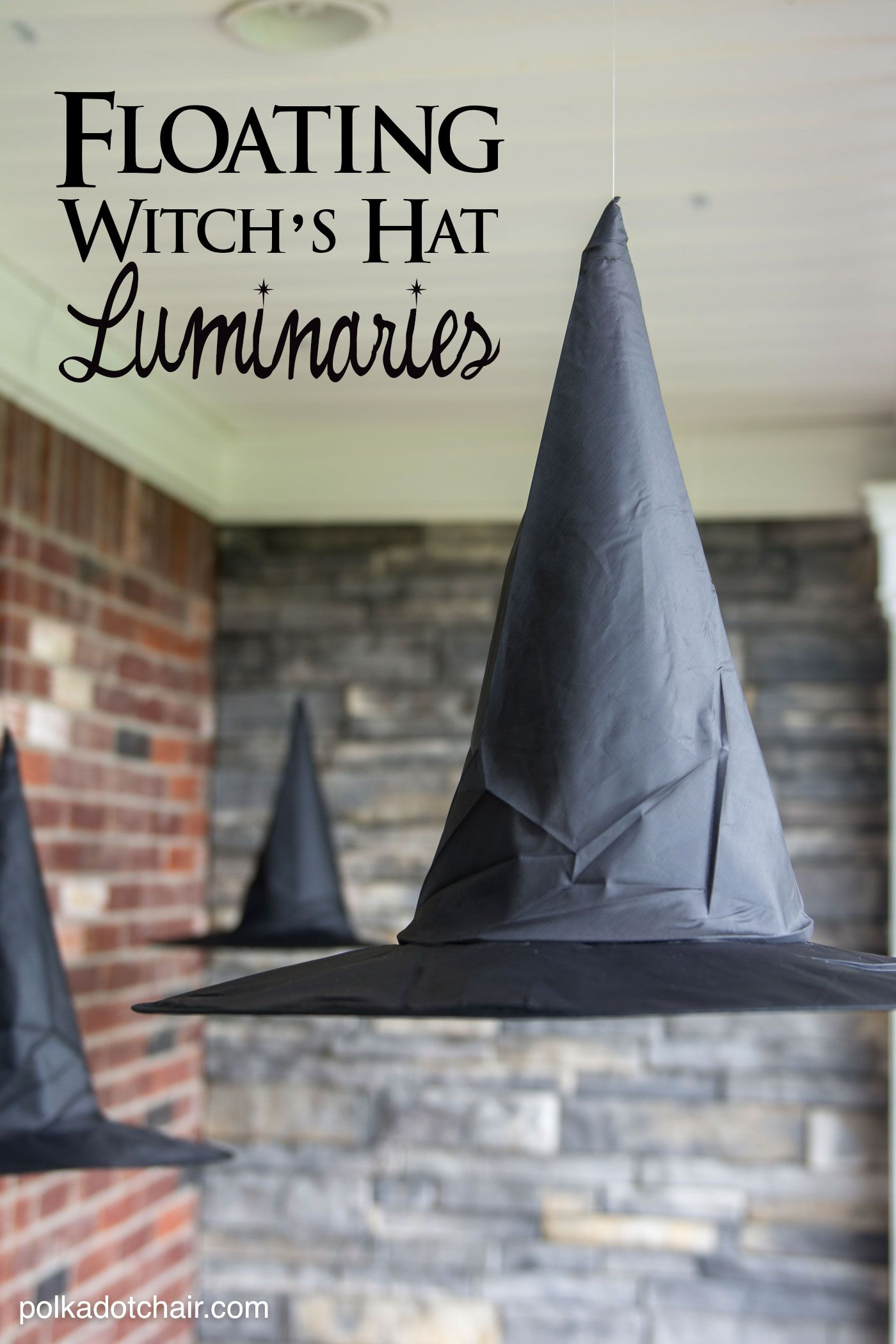 DIY Floating Witch Hat Luminaries | Best Front porch decorations ideas