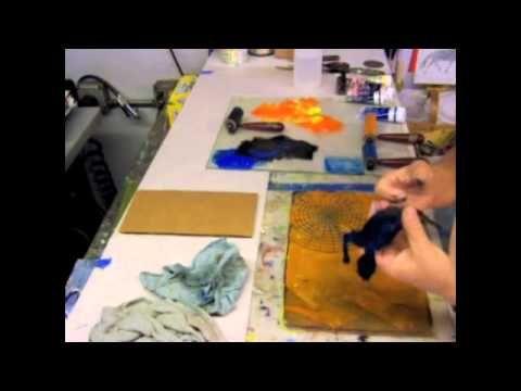 Gelatin Printing - pre-ink the Stencil by Linda Germain