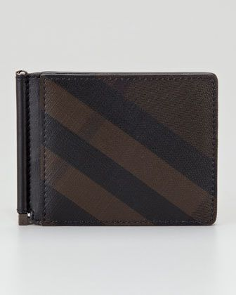 3dc89cd517af Smoked Check Leather Money Clip Wallet by Burberry at Neiman Marcus.