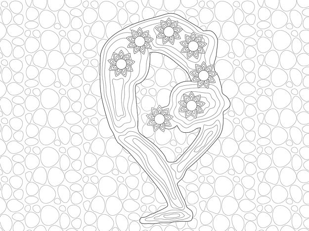 Yoga Pose Seven Chakra Centers Coloring Page