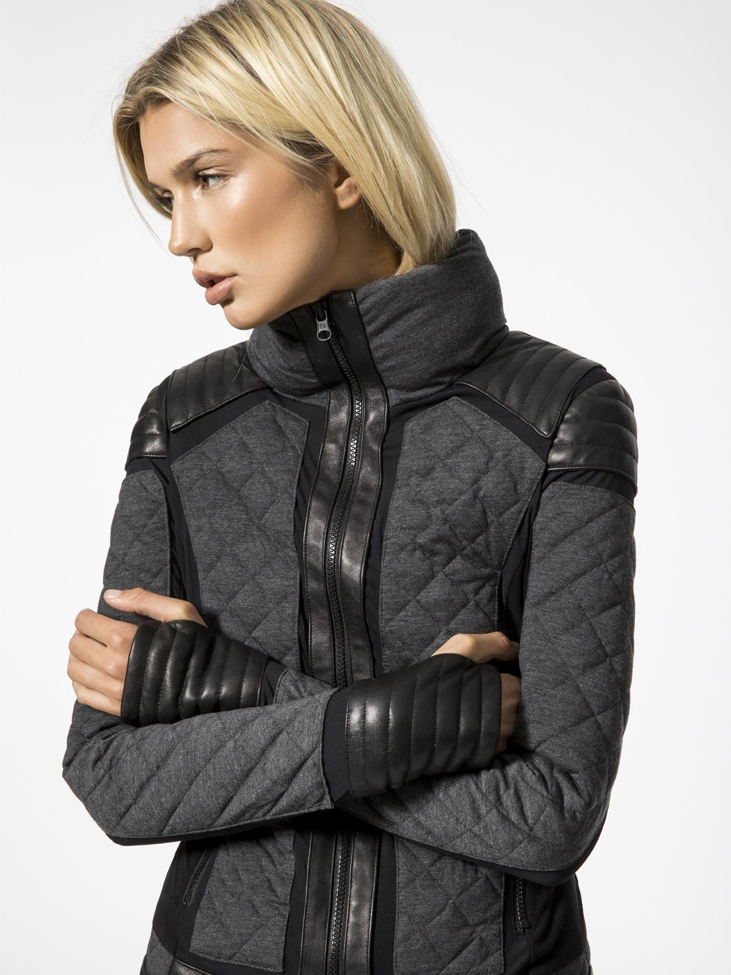 Mesh Inset Moto Puffer Jacket In Charcoal Heather By Blanc Noir From Carbon38 Puffer Fashion Women S Puffer [ 1400 x 1050 Pixel ]