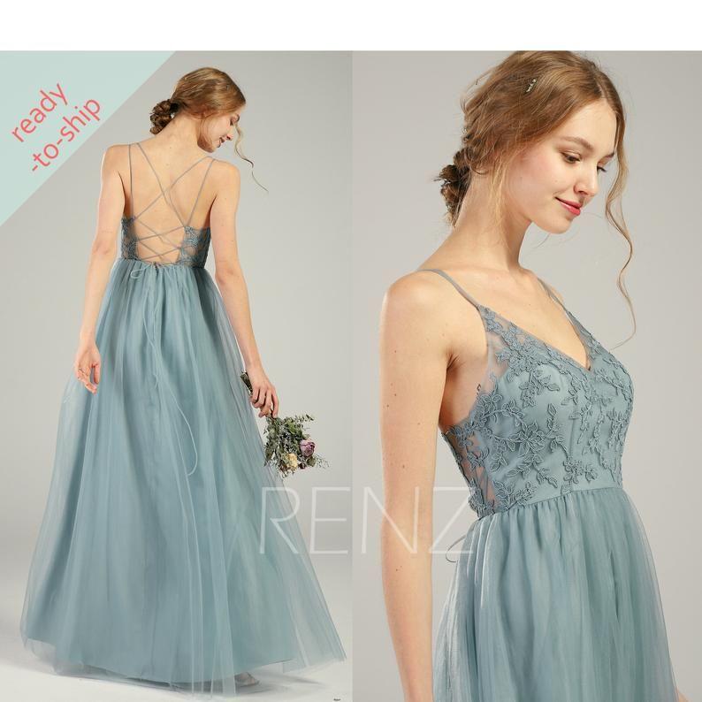 Bridesmaid dress dusty blue lace wedding dress v neck