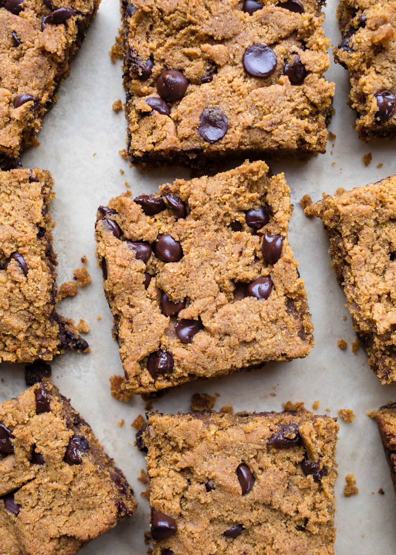 Chocolate Chip Pumpkin Blondies Gluten Free Vegan