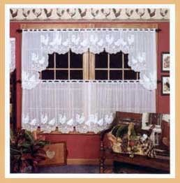 Details about Hopewell Heavy White Lace Kitchen Curtain ...