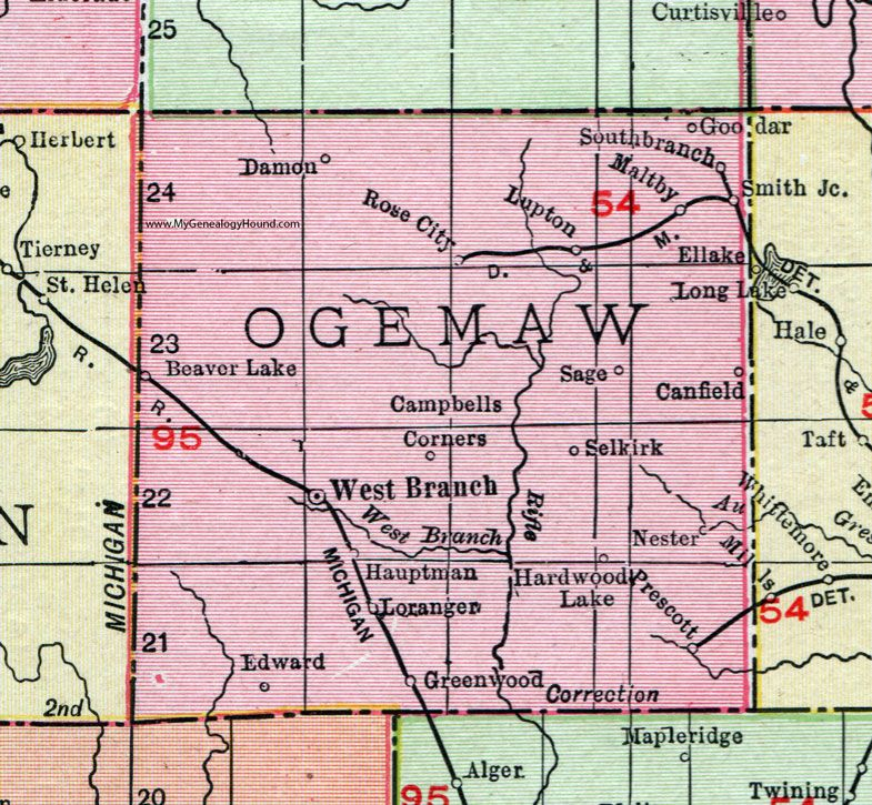 Ogemaw County Michigan 1911 Map Rand Mcnally West