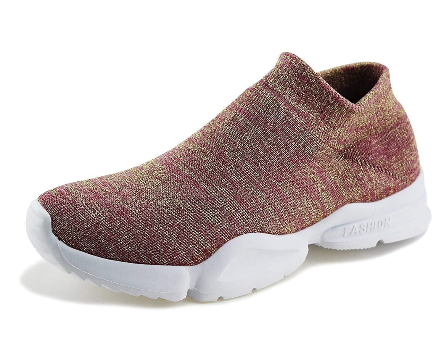 Jabasic Women Breathable Athletic Knit Shoes Casual Slip On