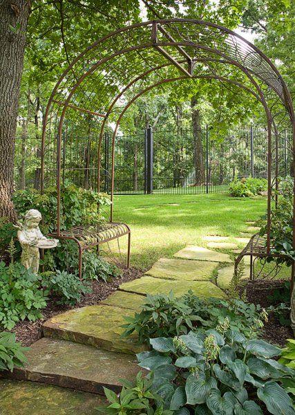 Sensational Wrought Iron Pergola With Benches Garden Archway Garden Squirreltailoven Fun Painted Chair Ideas Images Squirreltailovenorg