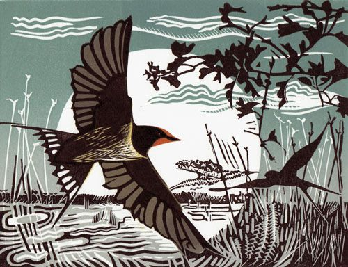 Swallows - linocut - Pam Grimmond