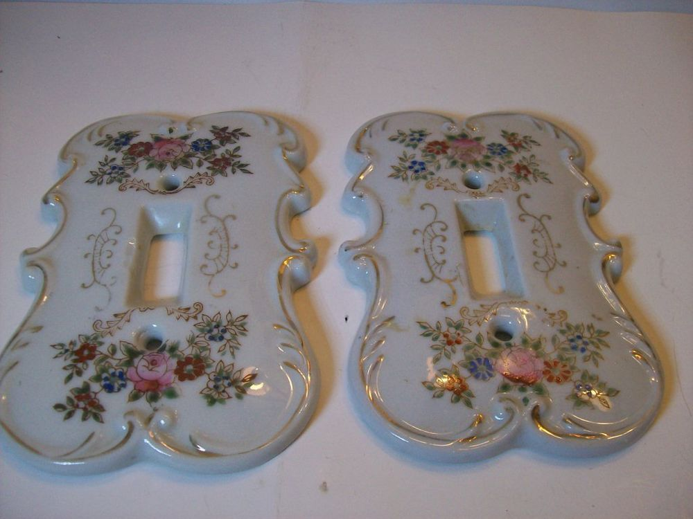 Vintage Japan Porcelain Floral Light Switch Plate Covers Set of 2 Arnart #Arnart