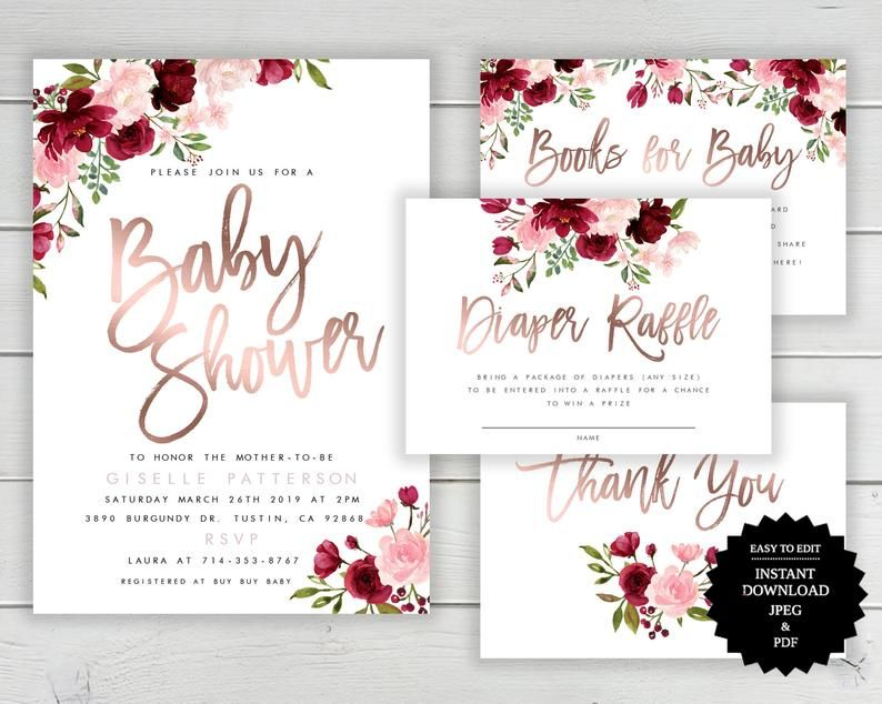 Marsala Floral Rose Gold Shower Invitation Baby Shower Etsy Christmas Invitations Template Baby Shower Invitation Templates Floral Baby Shower Invitations