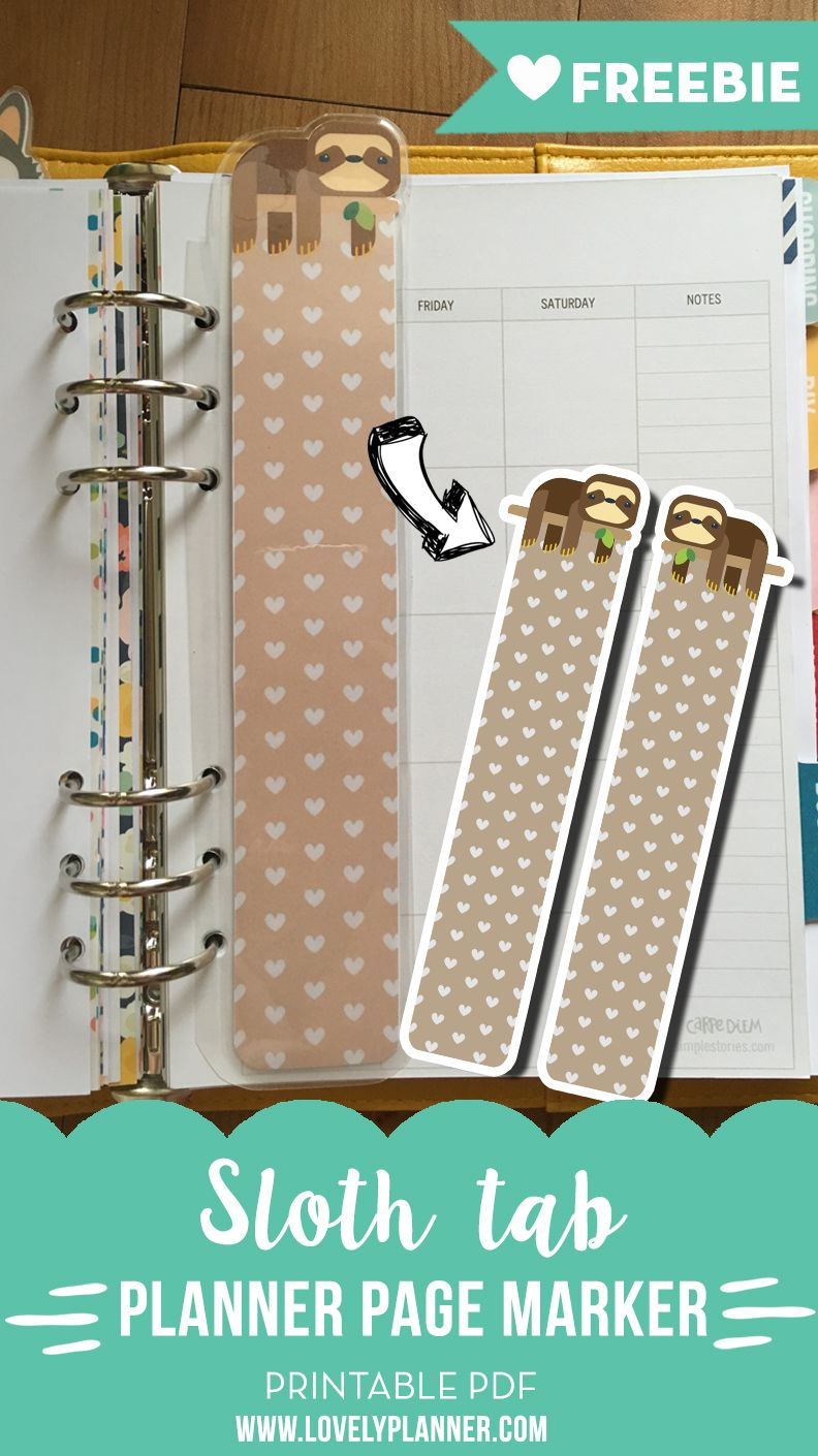 FREE printable: Sloth page marker tab for A5 planners, today tab, top tab, planner divider from Lovely Planner