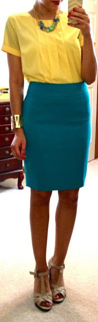 yellow blouse + teal skirt + nude pumps + teal and gold accessories