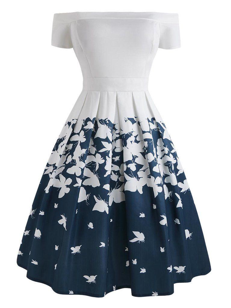 1950s Butterfly Off Shoulder Dress Cute Formal Dresses Dresses Fashion Dresses [ 1024 x 768 Pixel ]
