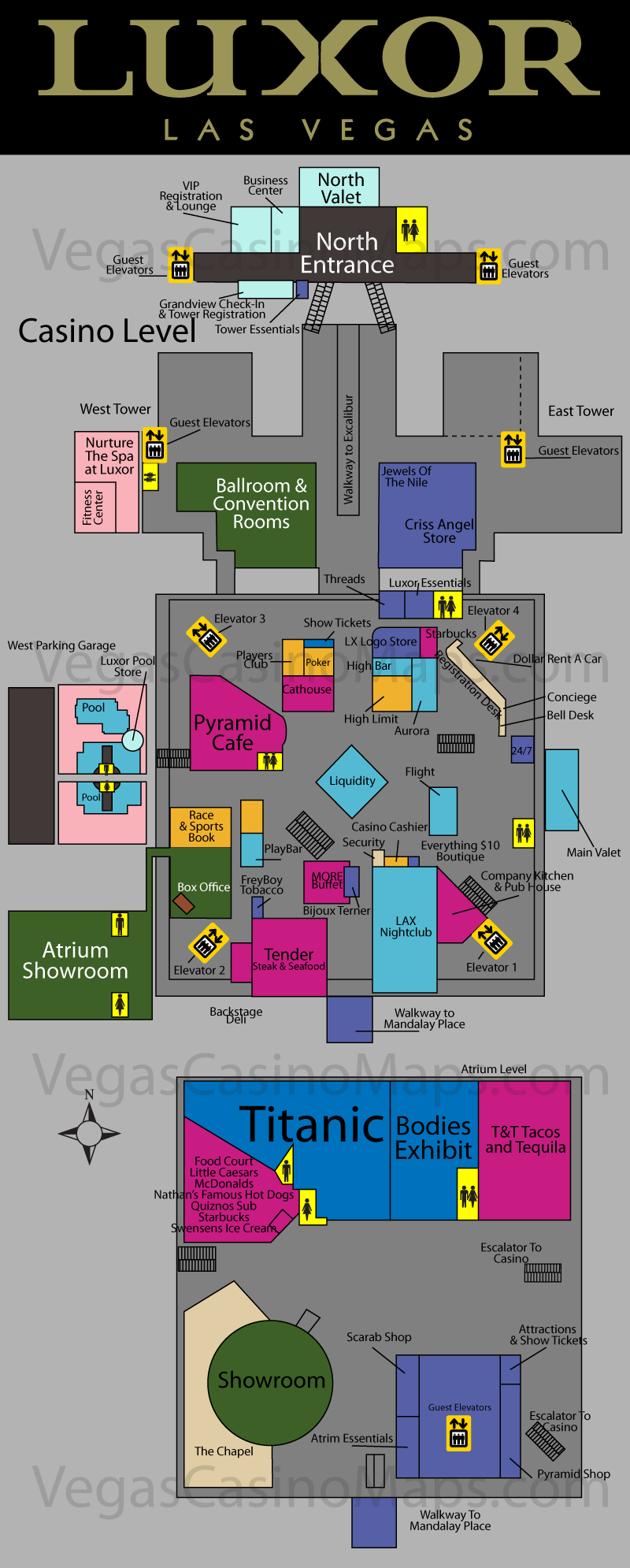 LuxorHotelLasVegasMap Click a link below to
